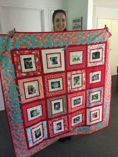 Mousey's Creations 'red themed' photo memory quilt for a 21st birthday present. www.facebook.com/MouseysCreations