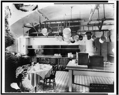 Kitchen in the White House, 1901  Pot rack, tile floor