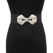 Women Fashion Metal Wide Gold Hook Elastic Stretch Belt Waist Bowknot Rhinestone