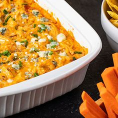 Check out this great recipe from Franks RedHot: Franks-Redhot-Buffalo-Chicken-Dip. *Sub monterey jack cheese for blue cheese Hot Sauce Recipes, Dip Recipes, Appetizer Recipes, Chicken Recipes, Dinner Recipes, Appetizers, Cooking Recipes, Keto Recipes, Dinner Ideas