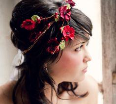 Flower Crown, Cascade Red Millinery Flowers, Wedding Tiara, Bridal Hair Wreath, head wreath, fairy, woodland. $65.00, via Etsy.