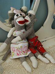 Vintage Sheet Dress Sock Monkey Design