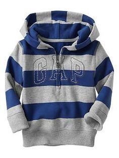 Striped arch logo pullover hoodie   Gap