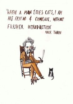 Mark Twain Cat Quote by DickVincent on Etsy #CatQuotes