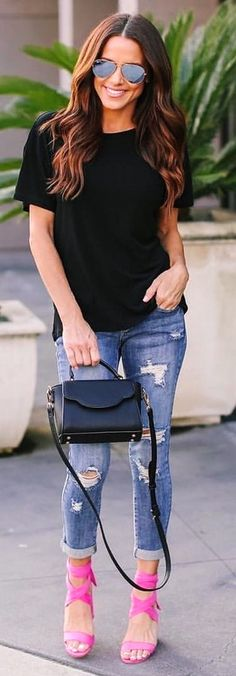 black crew-neck t-shirt and #distressed blue #denim #jeans