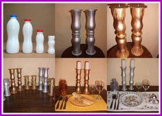 Artesanato com Reciclagem: Reciclagem de garrafas de plástico castiçal reciclado