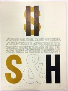 Sudler & Hennessey ad designed by Herb Lubalin (with George Lois)