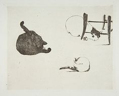 Édouard Manet (French, 1832–1883). Cats, 1868-69. The Metropolitan Museum of Art, New York. Rogers Fund, 1921 (21.76.26) #cats