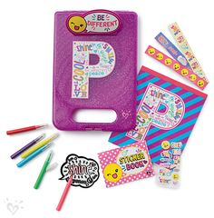 Take your fun on-the-go! Our initial clipboard is filled with a notepad, markers, stickers and more!