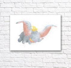Dumbo Watercolor Wall Art Print  Modern Nursery by QuantumPrints