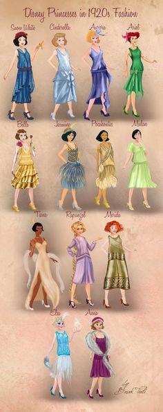 Varietats: Disney Princesses in the 20th century style by Basak Tinli