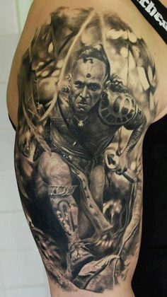 Apocalipto - Den Yakovlev - Movies tattoo. ~~ This is simply amazing! The detail is mind blowing!