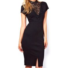 Slit Design Short Sleeve Solid Color Lace Collar Packet Buttock Women's Dress