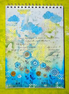An art journal page using #BoBunny #DoodleBlooms stamps and stickable stencils