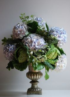 Beautiful bouquet: Cabbage & Hydrangea In An Antiqued Urn Beautiful Flower Arrangements, Love Flowers, Fresh Flowers, Floral Arrangements, Beautiful Flowers, Exotic Flowers, Purple Flowers, Spring Blooms, Spring Flowers