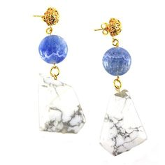 White Italian Onyx + Gold Geometric Statement Earrings