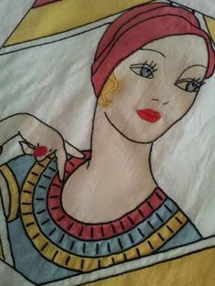 GORGEOUS VINTAGE TINTED EMBROIDERED VOGUE FLAPPER LADY PILLOW COVER