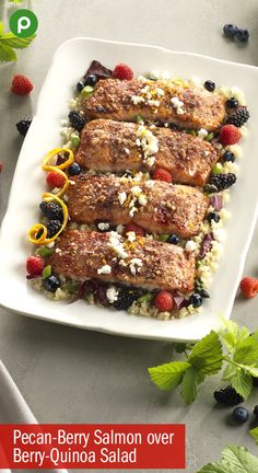 Pecan-Berry Salmon with Orange Quinoa Salad - Publix Aprons Recipes Salmon Recipes, Fish Recipes, Seafood Recipes, Cooking Recipes, Healthy Recipes, Quinoa Salad Recipes, Salmon Dishes, Fish Dishes, Food Recipes