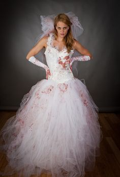 Size Medium Bloody Tulle burlesque prom dress Zombie Corpse killer Bride with veil and gloves costume Ready to Ship. $395.00, via Etsy.