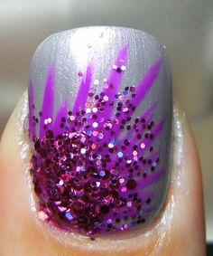 Glitter explosion nails