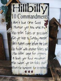 Primitive Sign Humorous Hillbilly 10 Commandments Subway Art Sign Free Shipping | eBay