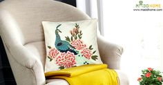 Give a decent Look to your Living Room with embroidered multicoloured #cushion with a peacock resting on flowers. Shop now & get attractive discounts.