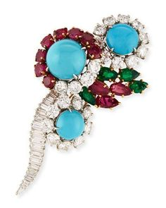 P9616 Hays Worthington Estate Ruby, Emerald & Turquoise Pin with Diamonds