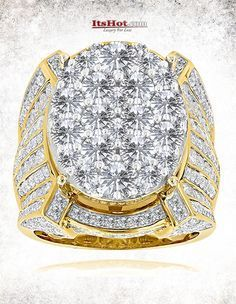This Celebrity Mens Diamond Ring by Luxurman available in 14K gold, showcases 10…