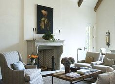 """Circa this mantel has a Louis XV style, featuring a prominent """"brow"""" OR """"Boudin,"""" along the edge of the lintel. Stone Fireplace Mantel, Limestone Fireplace, Fireplace Design, Fireplace Ideas, Interior Decorating Tips, Interior Design, Dining Room Inspiration, Design Inspiration, Design Ideas"""