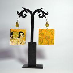 Orecchini dipinti a mano in legno dipinto a mano –  L'attesa – Klimt