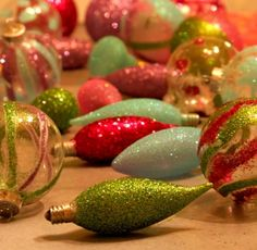 Christmas •~• old burned-out bulbs dipped in glue & glitter
