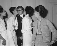 1960. Adulated by women, young Yves-Mathieu Saint-Laurent respected the women he dressed and a gift for bringing out the best of the female form.