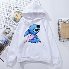 Lilo and Stitch Printed Women's Pull Over Sweatshirt Hoodies Lilo e Stitch Impresso Hoodies Moletom Feminino Lilo Ve Stitch, Lelo And Stitch, Cute Disney Outfits, Cute Comfy Outfits, Hoodie Sweatshirts, Hoody, Stitch Hoodie, Mode Kimono, Stylish Hoodies