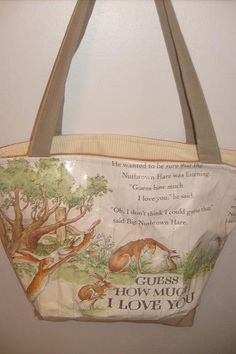 Guess How Much I Love You Diaper Bag $98.00 : Repurposed with real books so Unique! I Love this book!