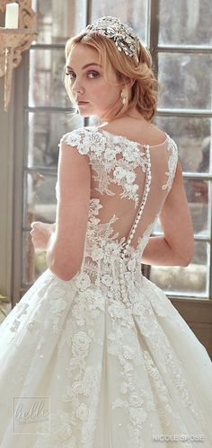 Nicole Spose Wedding Dress Collection 2017 | Illusion neckline ballgown with lace appliques and cap sleeve bridal gown #weddingdress #bridalgown #brides #weddings #bridal