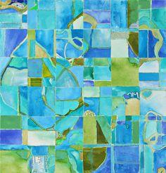"Heidi Martin Kuster  Geological Noations II 2010  Gouache on handmade paper with plastic coated aluminum on canvas  15.75""W x 15.75""H  $1300"