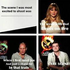 The cave scene was the one I was looking forward to seeing but of course the movie didn't linger on it like the book does.I hate when movies do that. The Hunger Games, Hunger Games Memes, Hunger Games Fandom, Hunger Games Catching Fire, Hunger Games Trilogy, Katniss Everdeen, Katniss And Peeta, Jennifer Lawrence, Mockingjay