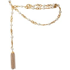 Pre-owned Chanel Goldtone Link Chain Belt With Pearls ($850) ❤ liked on Polyvore featuring accessories, belts, chanel, cintos, jewelry, chain link belt, pearl belt, chain belt, belt y chanel belt