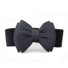 Coromose Bowknot Elastic Wide Stretch Buckle Waistband Belt for Women (Black)