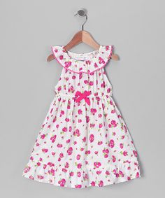 Take a look at the Beebay White & Pink Rose Yoke Dress - Infant, Toddler & Girls on #zulily today!
