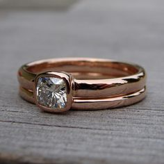 Square Cushion Cut Moissanite and Recycled 14k Rose Gold Alternative Engagement Ring Wedding Band Set, Made to Order