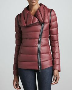 Qeren Leather-Trim Puffer Jacket by Mackage at Neiman Marcus.