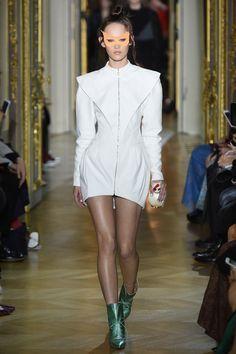 Ulyana Sergeenko | Spring 2016 Couture | 18 White zipped long sleeve mini dress