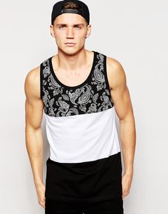 ASOS Longline Vest With Bandana Print Panel In Relaxed Skater Fit