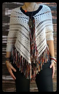 A triangle shawl turned into a poncho with added sleeves.This bohemian inspired crochet poncho has a long tassel tieBo-M: Aged Shawl Raw with fringes blended in autumn colors Crochet Poncho Patterns, Crochet Shawls And Wraps, Crochet Jacket, Crochet Cardigan, Knitted Shawls, Crochet Scarves, Crochet Clothes, Love Crochet, Hand Crochet