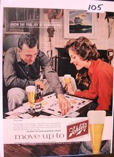 """1960 Schlitz Beer Ad """"Joy of Good Living!"""" ~ The full dimensions of the advertisement are approximately x This original vintage advertisement is in Very . Vintage Advertisements, Vintage Ads, Vintage Prints, Vintage Posters, Vintage Food, Print Advertising, Print Ads, Beer Advertisement, Schlitz Beer"""