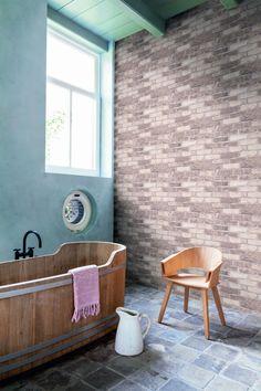 Tan Running Brick R2591 #wallpaper #trend #fauxbrick