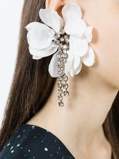 Lanvin клипсы в форме цветка с подвесками
