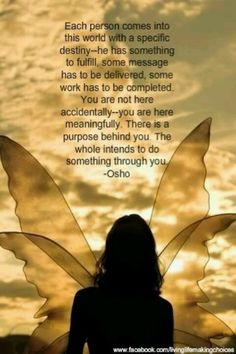 You are not here accidentally, you are here meaningfully. There is a purpose behind you. ~ Osho