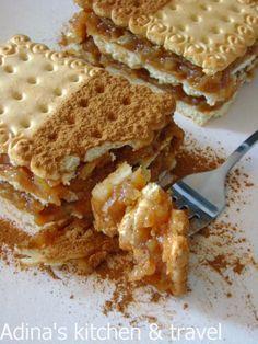 Retete mancare Gateste Inteligent Prajitura din biscuiti si mere aromate cu coaja de portocale Gordon Ramsay, Biscuit, Deserts, Cooking Recipes, Sweets, Bread, Food, Cakes, Drinks